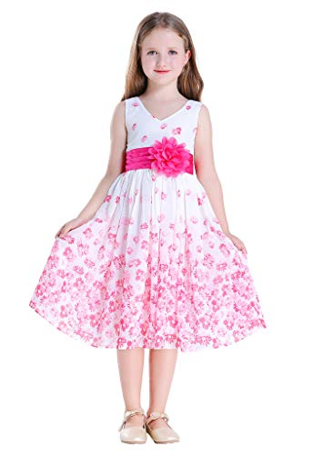 (Bow Dream Flower Girl Dress Junior Bridesmaids V-Neckline Chiffon Pink Rose 12)