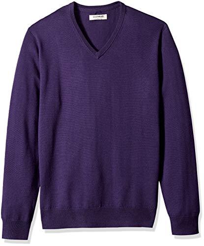 (Goodthreads Men's Merino Wool V-Neck Sweater, deep Purple, Large)