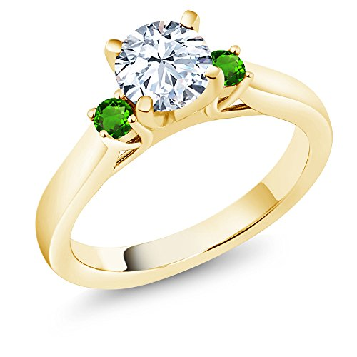 Gem Stone King 1.78 Ct Zirconia Simulated Tsavorite 18K Yellow Gold Plated Silver 3-Stone Ring (Size 9)