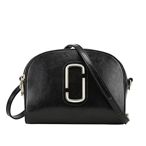 - DeLamode Women Genuine Leather Square Bags Shoulder CC Logo HandsBags Black