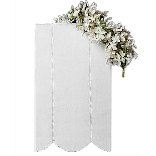 Guest Bath Tea Hand Towel White Linen with Vertical Hemstitch Rows and Scalloped Edge 14 X 22 Inch