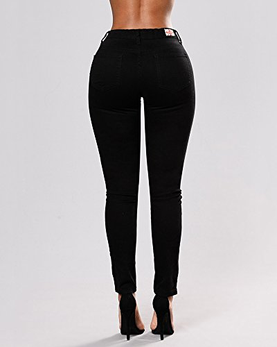 Denim lasticit Basique Pantalon Taille Dlav Slim Brod Skinny Pants haute Noir Jeans Femmes f40qCxw