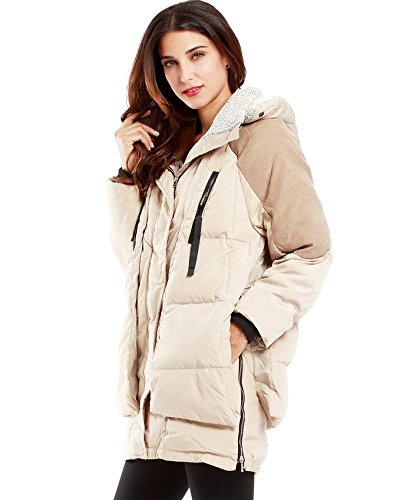 Komene Women's Winter Outwear Thickened Long Down Jacket with Hood