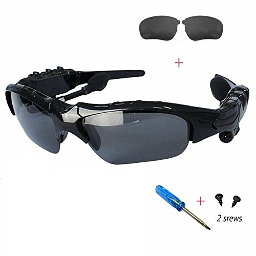 Winwinner Wireless Motorcycle Glasses Bluetooth MP3 Sun Glasses Headset for Various Bluetooth Devices, Mobile Phones, pdas, laptops, etc+Extra Free Advanced Gray - Black polarizing Lenses ()