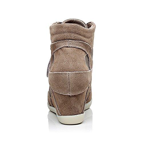 Rismart Kvinnor Lätta Snörning Hiss Skor Kil Hög Klack Mode Sneakers Khaki 8522 Us4.5