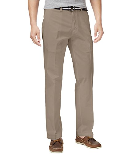 Haggar Men's Solid Stretch Belted Poplin Flat Front Straight Fit Pant, Khaki, 38x34 (Belted Stretch Cotton)