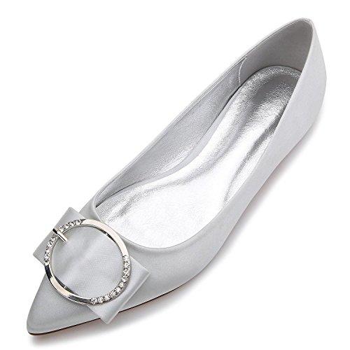 Custom Punta Bomba Tamaño De 5047 Elástico yc Boda Plana Cerrado L Metal Made Básica E Satén Zapatos Gran La 27 Silver Toe Rq8TWwv