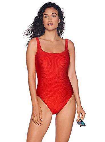Silver And Red Suit - Reebok Women's Swimwear Sport Fashion Rib