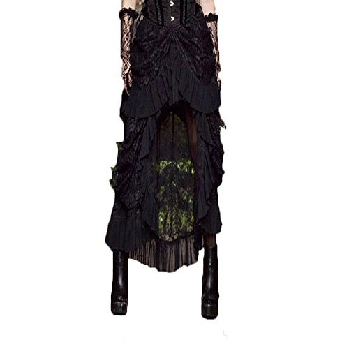 Steampunk Outfits Female (SWISH Womens Steampunk Elastic Skirt Black Victorian Gothic Outfits (3XL))