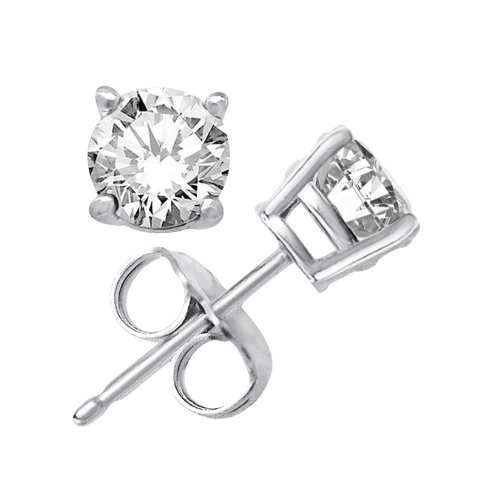 Kezef Creations Sterling Silver .925 CZ Stud Earrings with 8mm Round White Cubic Zirconia Gemstones