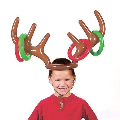 Party Diy Decorations - Inflatable Pvc Reindeer Antler Hat Ring Toss Game Xmas Holiday Party Toys Moose Christmas Costume - Decorations Party Party Decorations Coupl Wedding Rings Silver R]()
