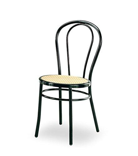 Famoso 4 Sedie Bistrot tipo Thonet in metallo verniciata nera sedile in  RO45