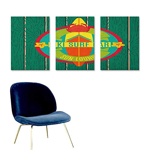 J Chief Sky Tiki Bar,Personalized Wall Decals Tiki Surf Bar Sun Lounge Holiday Vacation Theme Surfboard Crab Starfishes Print Poster Multicolor W16 x L24