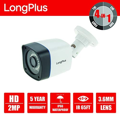 LongPlus HD-TVI 1080P 2MP 4-in-1 CCTV Home Surveillance IP66 Weatherproof IR Cut Bullet Security Camera, White LPHDC2MBP