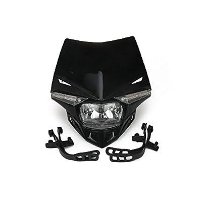 JFG RACING S2 12V 35W Universal Motorcycle Headlight Head Lamp Led Lights For For Honda Kawasaki Suzukki Yamaha Dirt Pit Bike ATV - Black: Automotive