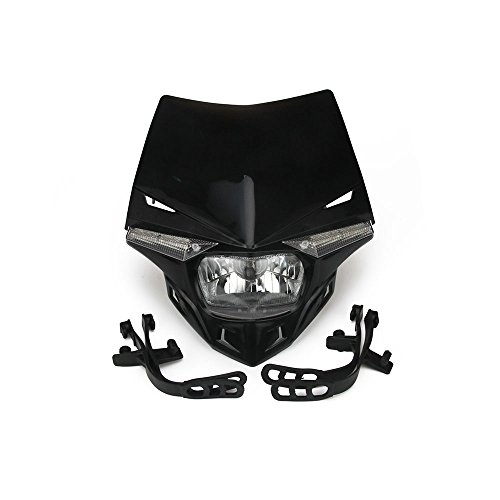 JFG RACING S2 12V 35W Universal Motorcycle Headlight Head Lamp Led Lights For Honda Kawasaki Suzukki Yamaha KTM Dirt Pit Bike ATV - Black
