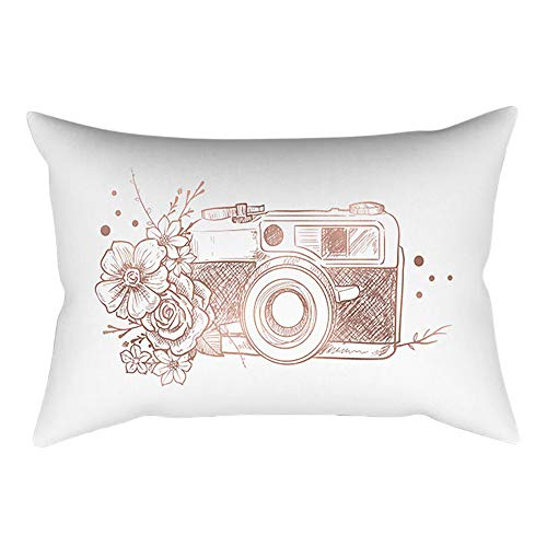 (Pausseo Rose Gold Powder Pillowcase, Cotton Linen Square Pillow Cover Cushion Sofa Waist Throw Pillowcase Home Decoration Office Car Bed Decor Wrinkle Resistant Pillowslip Gift)