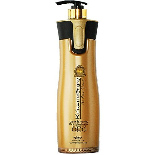 Keratin Cure Best Treatment Gold and Honey Bio 32 Ounces for Silky Soft Hair Formaldehyde Free Professional Complex with Argan Oil Nourishing Straightening Damaged Dry Frizzy Coarse Curly Wavy Hair