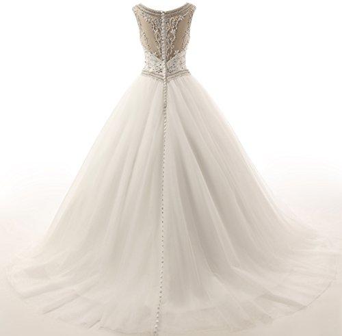 Kristall Brautkleid Arm T¨¹ll Kirche Changjie prinzessin Hochzeitskleider Damen Weiß Perlen Elegant Ohne I0ISFxw