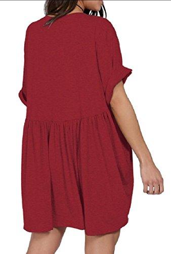 Jaycargogo Manches Courtes Occasionnel Des Femmes V-cou Lâche Mini-robe Courte 3