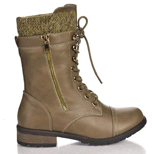 Forever Link Womens Mango-31 Round Toe Military Lace up Knit Ankle Cuff Low Heel Combat Boots Taupe PU 8.5 ()
