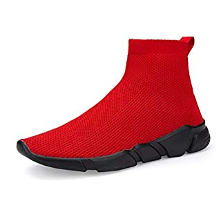 VAMJAM Men's Casual Athletic Sneakers Fashion Lightweight Breathable Mesh Running Shoes Black Red 47