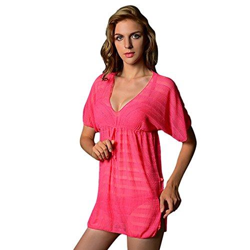 - acme Women Sexy V-Neck Loose Beach Dress Swimwear Cover-up Watermelon Red