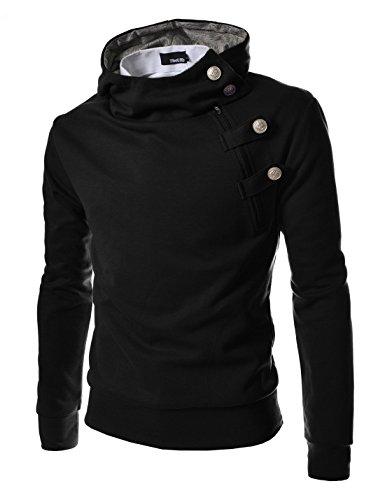 4BH Mens Casual Luxury Buckle Hoodie Slim Cotton Sweatshirts BLACK US S(Tag size L)