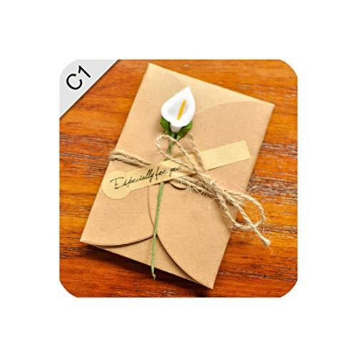 (5PCS/Lot Kraft paper envelope for wedding invitations flower envelope,WHITE,M)