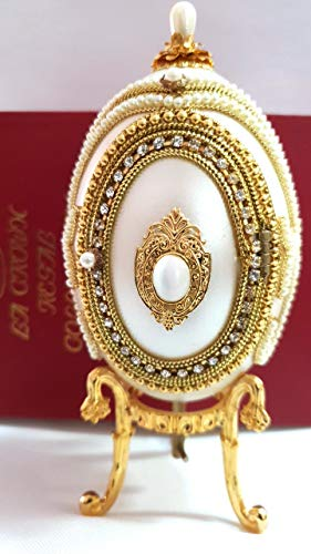 - Unique Egg Faberge Egg Authentic Goose Egg Cameo Deluxe Hand Decorated with Simulated Diamonds Rubies &Pearls Embellished with 24ct Gold- Faberge Egg Figurine Trinket Box Limited Edition Collectible