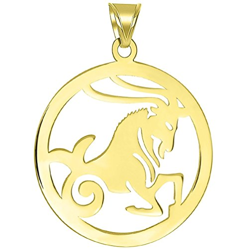 - Solid 14k Yellow Gold Round Capricorn Zodiac Sign Goat Cut-Out Disc Pendant