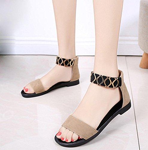 Sommer Sandalen weiblichen Studenten flache beiläufige Sandalen Fischkopf Frauenschuhe Metalldekoration Khaki
