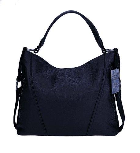Made Italy - Bolso cruzados de cuero para mujer 39x39x9 cm (BxHxT) Azul Oscuro