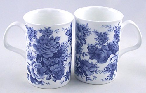 - Fine Bone China Mugs - Set of Two - Blue Rose Chintz