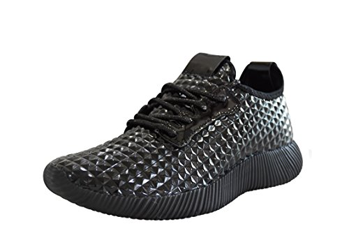 ROXY ROSE Women Metallic Leather Sneaker Lightweight Quilted Lace Up Pyramid Studded - New Fashion (8 B(M) US, Black) Leather Sole Padding