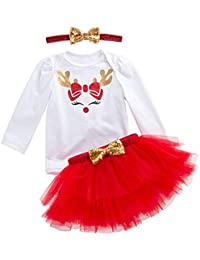 Baby Girls Clothes Christmas Elk Long Sleeve Rompers+Red Tulle Tutu Skirt +Headband 3PCS Outfits Set