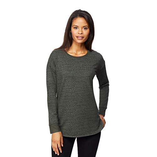 Womens Faux Cashmere Crew Neck Top, Heather Dark Moss Green, Small