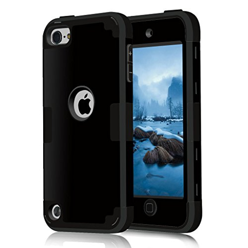 iPod 5 / 6 Case, HOcase Black Series, Hybrid Plastic Silicone Shockproof Protective Case Cover for iPod touch 5th / 6th Generation - Black / Black - Ipod 5th Generation Black Case