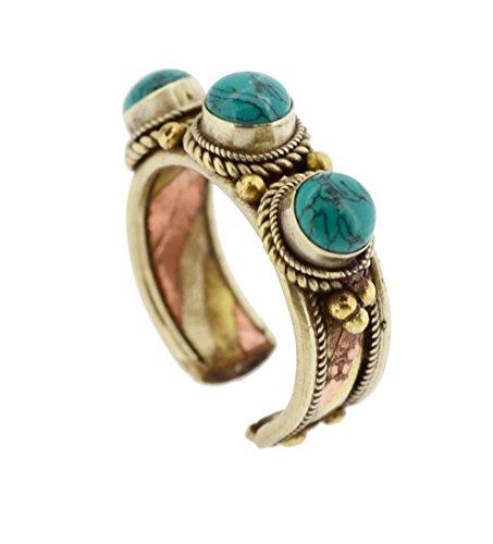 (Mandala Crafts Unisex Tibetan Statement Gold Tone Three Metal Ring (3 Stone) )