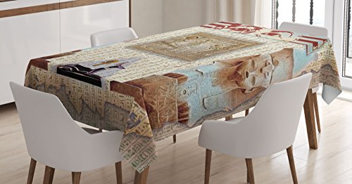 Egypt Decor Tablecloth by Ambesonne, Eastern Heritage Ancien