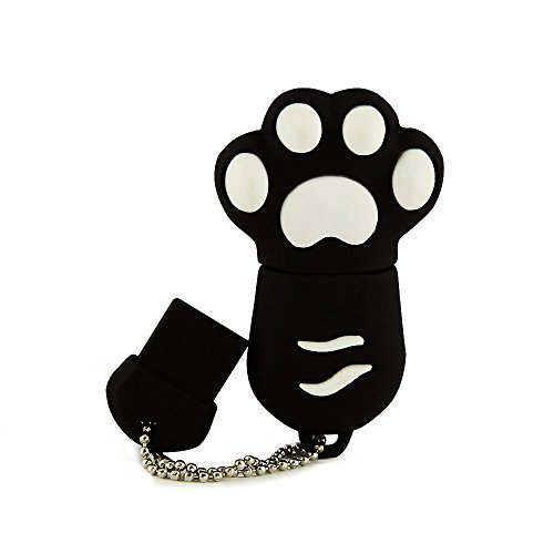 (Usbkingdom 64GB USB 2.0 Flash Drive Cute Animal Cat Paw Shape Pen Drive Thumb Drives Jump Drive Memory Stick Pendrive Flash Disk (Black))
