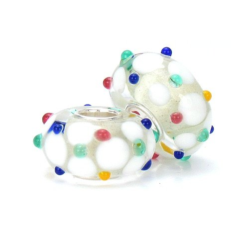 European Charms with Multi Color Sprinkles On White Dots Sterling Core Fits Pandora Compatible (Roxy Charm)