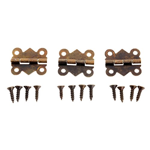 Small Box Hinges - Dophee 12Pcs Antique Brass Butterfly Hinge for Jewelry Chest Box Wood Cabinet Door Deco - Small