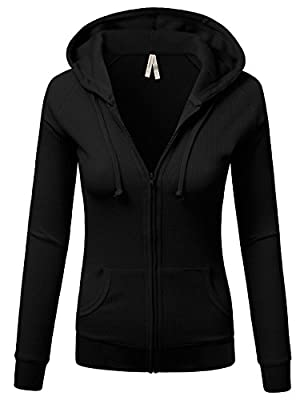 JJ Perfection Women's Solid Long Sleeve Ribbed Hoodie Thermal Jacket