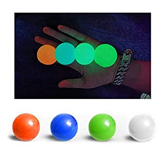 YWL Upgrade Glow Sticky Balls Sticky Wall Balls Sticky Balls Glow Squishy Ball Stick to The Wall and Slowly Fall Off,Fun Toy for ADHD, OCD,4PCS (45mm)