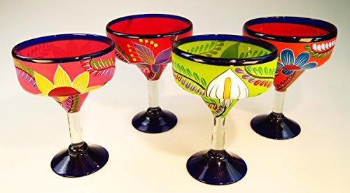 Mexican Glass Margarita Hand Painted Flowers, Mixed, 14 Oz, Set of 4 by Mexican Margarita Glasses