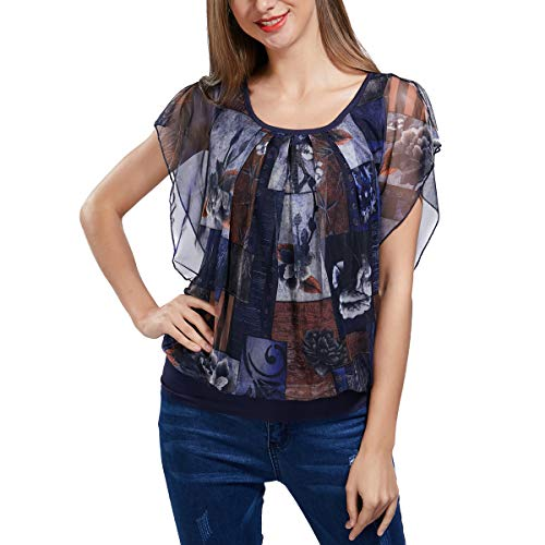 (Womens Printed Flouncing Flared Short Sleeve Pleated Front Mesh Blouse Top Shirt)