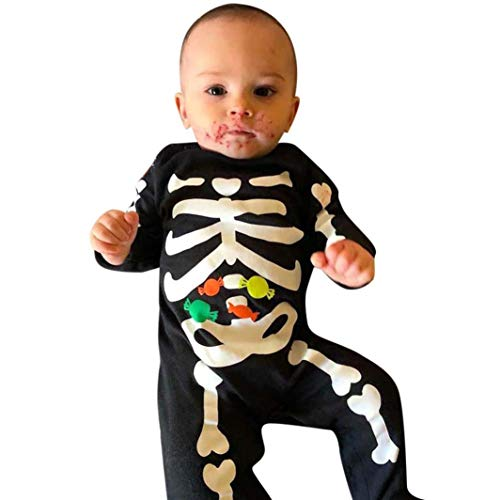 Happy Halloween!AutumnFall Toddler Baby Boys Girls Bone Candy Print Romper Jumpsuit Newborn Casual Clothes (Black, Size:18M)