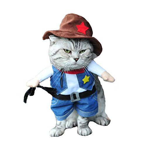 Hotumn Cowboy Dog Costume with Hat Dog Clothes Halloween Costumes for Cat and Small Dog (XS)]()