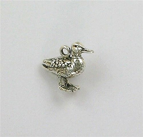 (Sterling Silver 3-D Duck Charm Jewelry Making Supply, Pendant, Charms, Bracelet, DIY Crafting by Wholesale Charms)